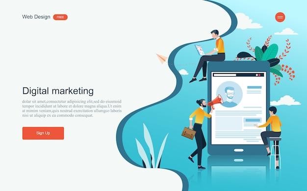 Concetto di marketing digitale, analisi e sviluppo.