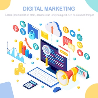 Concetto di marketing digitale. computer isometrico 3d, laptop, pc con grafico dei soldi, grafico, cartella, megafono, altoparlante.