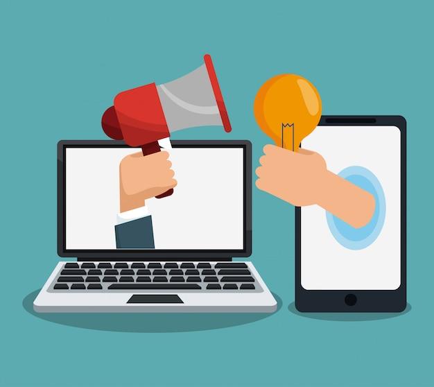 Concetto di marketing digitale e pubblicità dei cartoni animati