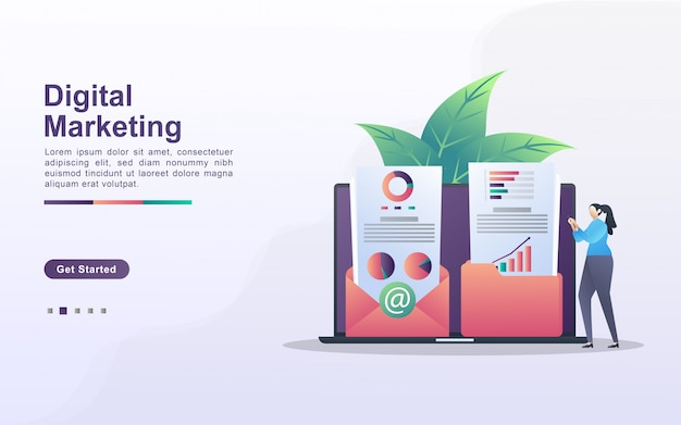 Concetto di marketing digitale. le persone salvano e condividono contenuti di marketing nelle e-mail dei clienti. analizzare e identificare i risultati di marketing. può usare per landing page web, banner, app mobile.