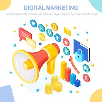 Concetto di marketing digitale. megafono isometrico, altoparlante, megafono con soldi, grafico, cartella, fumetto. pubblicità della strategia di sviluppo aziendale. analisi dei social media.