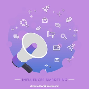 Concetto di marketing influencer viola con altoparlante