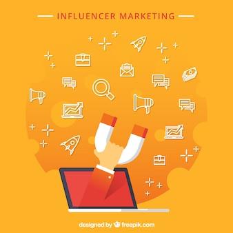 Concetto di marketing influenzatore orange