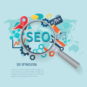 Concetto di marketing seo con ricerca simboli mappa del mondo e lente d'ingrandimento