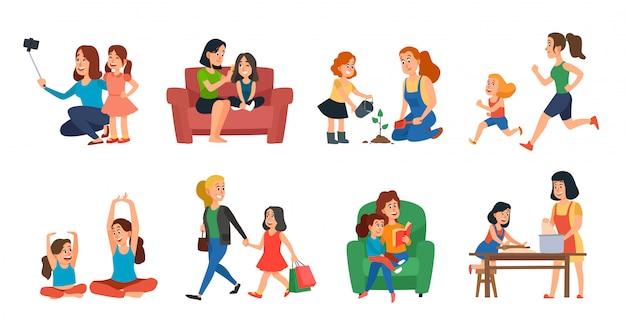 Concetto di maternità. la famiglia della figlia e della madre aiuta, giocando o abbracciando l'insieme dell'illustrazione