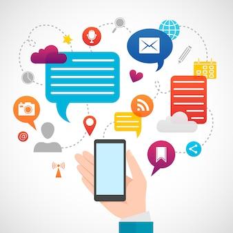 Concetto di media di social network mobile