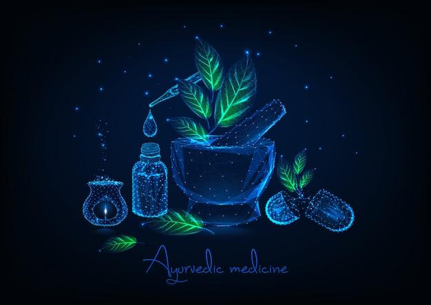 Concetto di medicina ayurvedica con mortaio, foglie, olio essenziale, pillole a base di erbe e aromalamp.