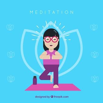 Concetto di meditazione con carattere piatto