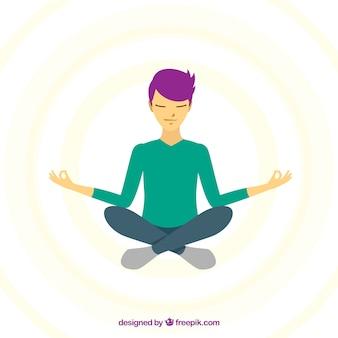 Concetto di meditazione con design piatto