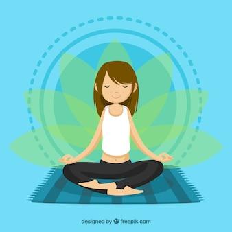 Concetto di meditazione con donna rilassata