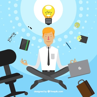 Concetto di meditazione con l'uomo d'affari