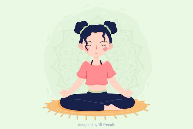 Concetto di meditazione design piatto per landing page