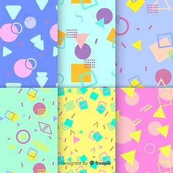 Concetto di memphis con collezione di pattern
