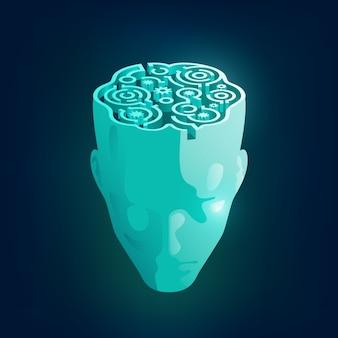 Concetto di mente umana, grafica di una testa di uomo con motivo a labirinto