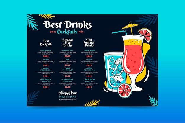 Concetto di menu di cocktail