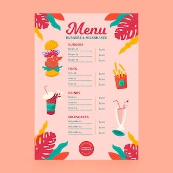 Concetto di menu di frullati e hamburger