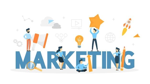 Concetto di mercato. promozione aziendale, comunicazione con clienti e pubblicità di prodotti online e offline. illustrazione al tratto