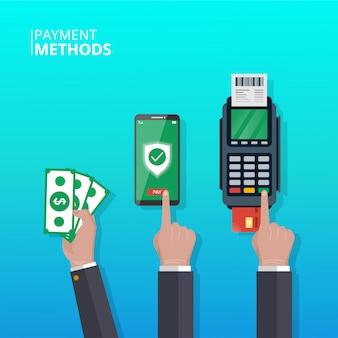 Concetto di metodi di pagamento. mano con diversi metodi di pagamento nelle transazioni. simbolo di smartphone, denaro e dataphone.