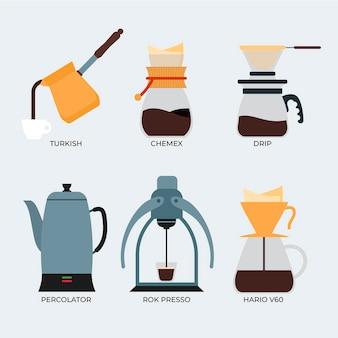Concetto di metodi di preparazione del caffè