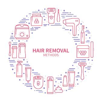 Concetto di metodi di rimozione dei capelli.