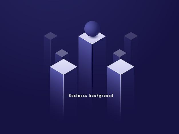 Concetto di minimalismo aziendale, flusso di dati, illustrazione futuristica