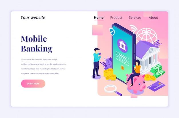 Concetto di mobile banking con personaggi. pagamento mobile elettronico. piatto moderno isometrico per modello di pagina di destinazione