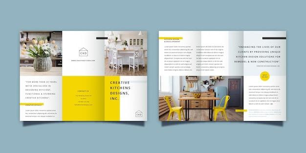 Concetto di modello brochure a tre ante minimo