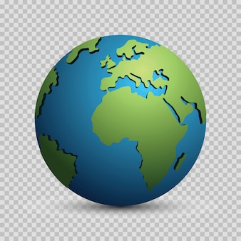 Concetto di modello del globo del mondo moderno 3d isolato. pianeta mondiale, sfera terrestre