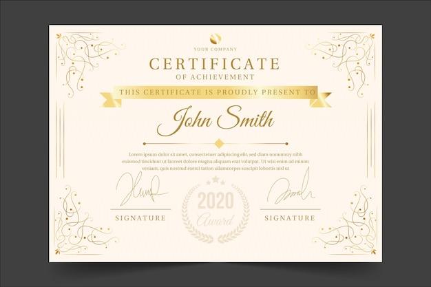 Concetto di modello di certificato di riconoscimento