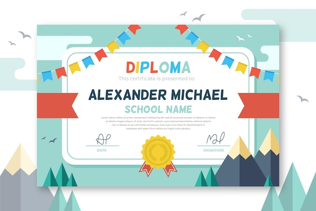 Concetto di modello di diploma per bambini