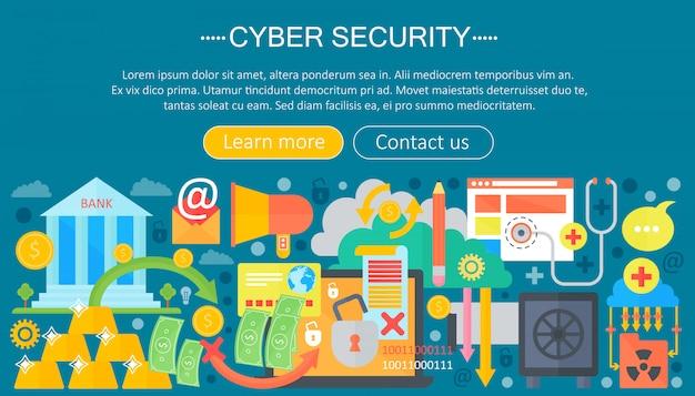 Concetto di modello di infografica di sicurezza informatica