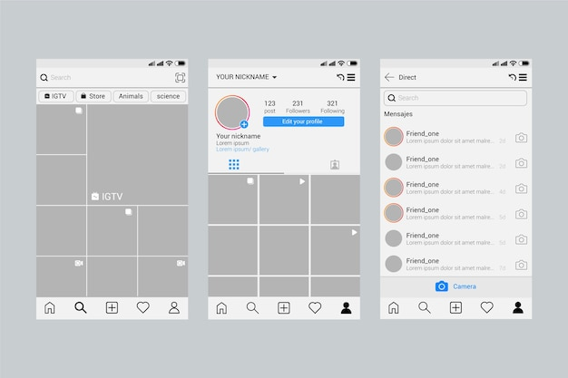 Concetto di modello di interfaccia profilo instagram