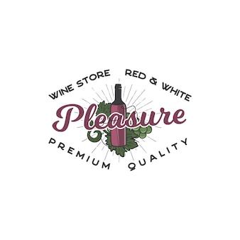 Concetto di modello di logo di negozio di vino. bottiglia di vino, simboli della vite e design tipografico - piacere. emblema di scorta per cantina, logotipo di enoteca, negozio isolato su sfondo bianco.