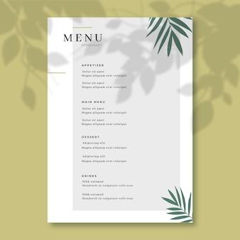 Concetto di modello di menu del ristorante
