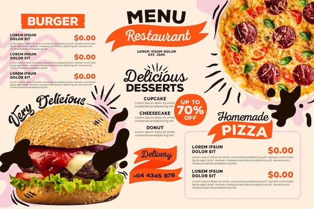 Concetto di modello di menu ristorante digitale