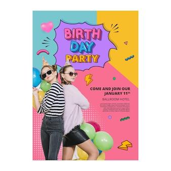 Concetto di modello di poster di compleanno
