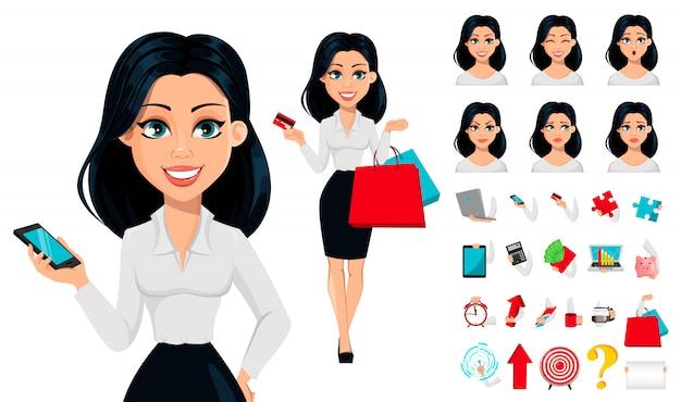 Concetto di moderna giovane donna d'affari