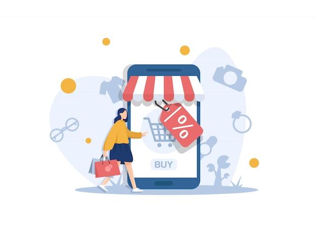 Concetto di moderno design piatto di shopping online con piccole persone, sviluppo di siti web mobile. progettazione di ui e ux