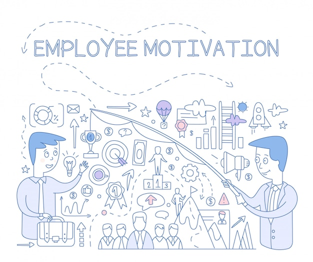 Concetto di motivazione dei dipendenti. infografica