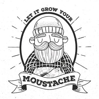 Concetto di movember con design vintage