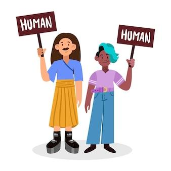 Concetto di movimento neutro di genere con persone in possesso di banner