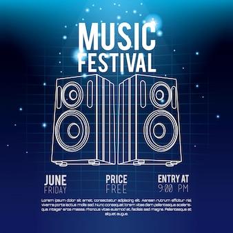 Concetto di musica festival flyer techno