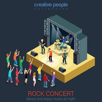 Concetto di musica piatta rock pop band concerto professionale concetto isometrico giovani che suonano strumenti che ballano vicino al palcoscenico della scena.