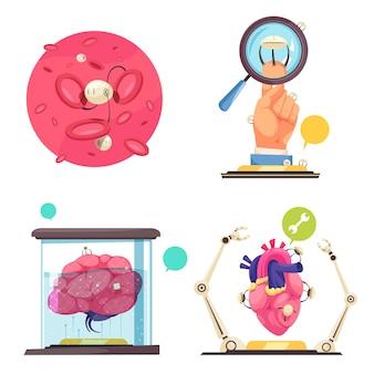 Concetto di nanotecnologie che mostra l'uso di nanorobot e microchip nella medicina moderna piatta