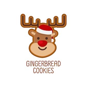 Concetto di natale, biscotti di panpepato carino per natale.