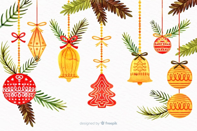 Concetto di natale con gli ornamenti dell'albero dell'acquerello