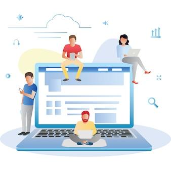 Concetto di navigazione del sito web della rete sociale