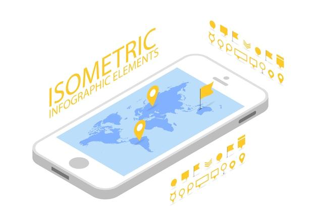 Concetto di navigazione gps mobile isometrico, smartphone con applicazione della mappa del mondo e puntatore pin marcatore