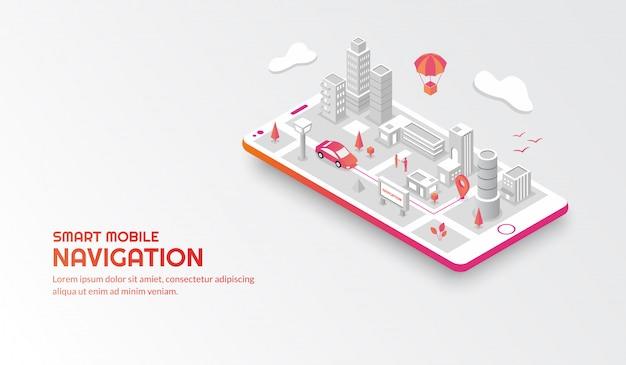 Concetto di navigazione mobile intelligente con la città isometrica collegata