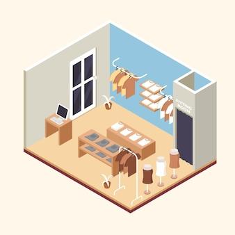 Concetto di negozio di abbigliamento isometrica